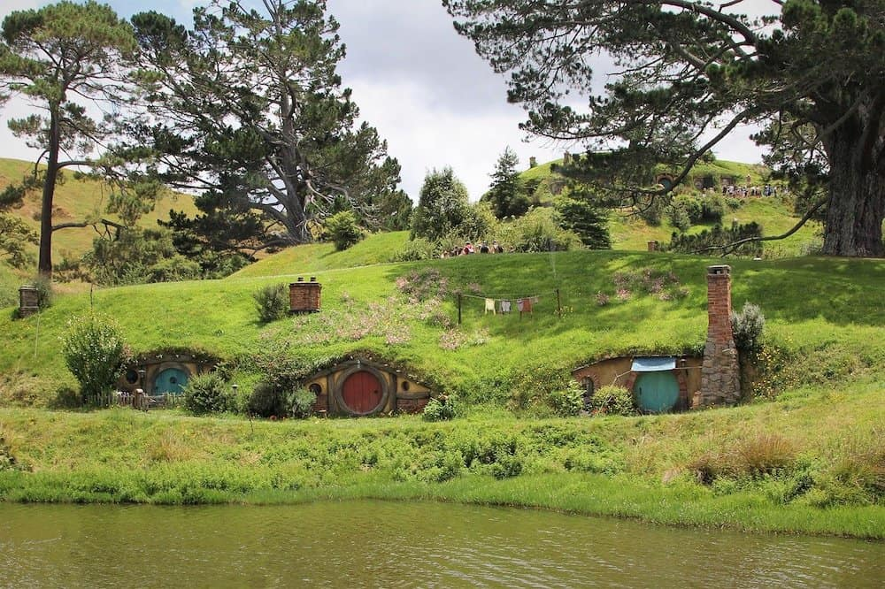 A screen from Hobbiton movie set a popular movie that can be considered  one of the best travel movies